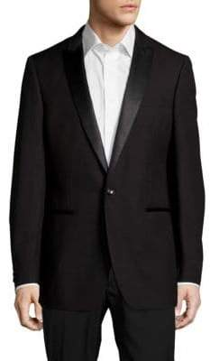 Calvin Klein Peak-Lapel Wool One-Button Jacket