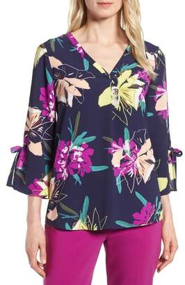 Chaus Cabana Blooms Bell Sleeve Top