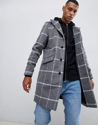 ONLY & SONS stand collar wool overcoat in grid check