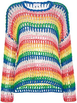 Mira Mikati Rainbow Open Hand Crochet Sweater