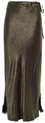 Ann Demeulemeester Asymmetric Crinkled-satin And Georgette Midi Skirt