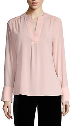 Calvin Klein Solid V-Neck Long Sleeve Blouse