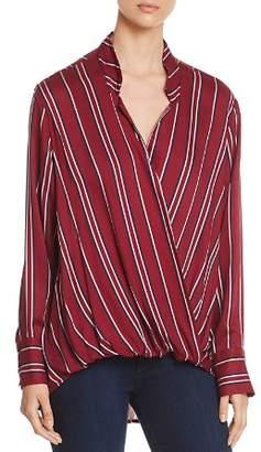 Velvet Heart Striped Faux-Wrap Shirt