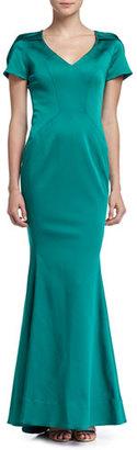 ZAC Zac Posen Maira Short-Sleeve Gown with Train, Fiji $1,390 thestylecure.com
