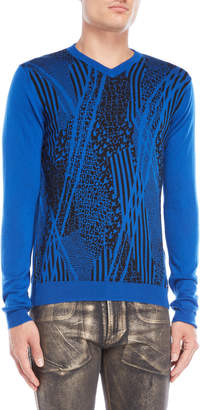 Versace Blue Printed V-Neck Sweater