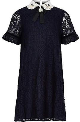River Island Girls navy lace embellished collar dress