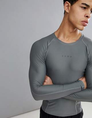 Asos 4505 compression long sleeve t-shirt with cut & sew in gray