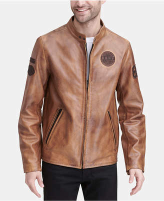 DKNY Men Leather Moto Jacket