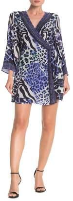 Shahida Parides Leopard Print Kimono Wrap Dress