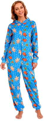 Body Candy Loungewear Women's Adult Christmas Fleece Hooded Onesie Pajama