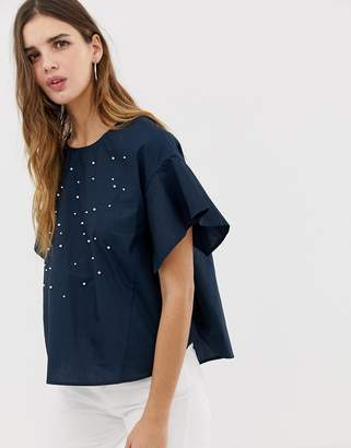 Qed London QED London embellished blouse with frill sleeve