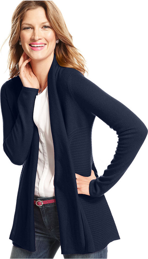 Charter Club Sweater, Long-Sleeve Open Ribbed Cashmere Cardigan