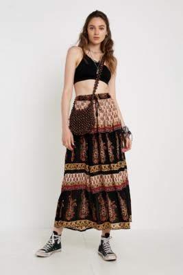 5d5082dc1 Urban Renewal Vintage Salvaged Deadstock Geo Print Crinkle Maxi Skirt