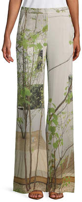 Akris Christa Printed Silk Wide-Leg Pant