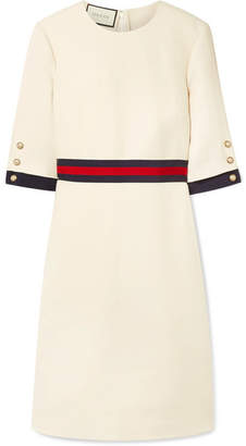 Gucci Grosgrain-trimmed Wool And Silk-blend Cady Mini Dress - Ivory