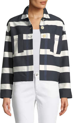 Piazza Sempione Block-Stripe Sateen Crop Jacket w/ Topstitching