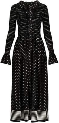 Ruffled polka-dot print jumpsuit