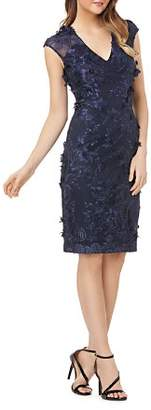 Carmen Marc Valvo Floral Appliqué Dress