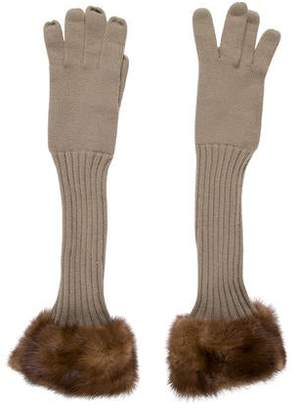 Loro Piana Mink-Trimmed Knit Gloves