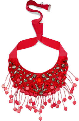 Etro - Grosgrain And Bead Necklace - Red $440 thestylecure.com