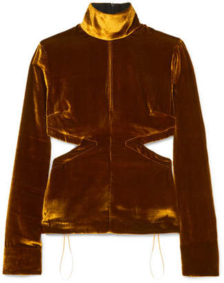 Marques Almeida Marques' Almeida Cutout Velvet Turtleneck Top - Brown