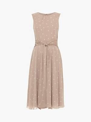 Phase Eight Fernanda Spot Dress, Latte/Ivory
