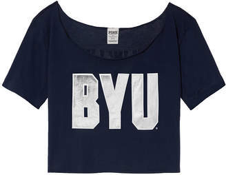 PINK Brigham Young University Cutoff Raw Edge Neck Tee