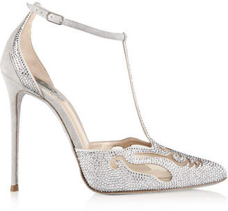 René Caovilla - Embellished Suede And Mesh Pumps - Silver $1,575 thestylecure.com