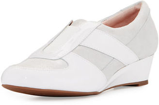Taryn Rose Pooms Traveler Patent-Trim Wedge Sneaker $155 thestylecure.com
