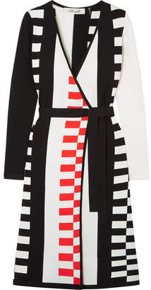 Diane von Furstenberg Enzo Intarsia Knitted Wrap Dress