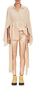 Sies Marjan SIES MARJAN WOMEN'S SILK CREPE BUTTON-FRONT BLOUSE-SAND SIZE 2