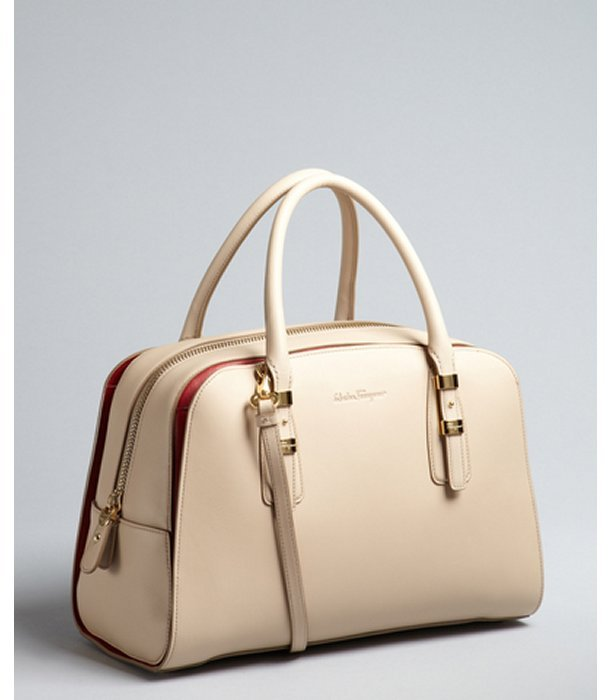 Salvatore Ferragamo almond and red leather 'Emmy' convertible satchel