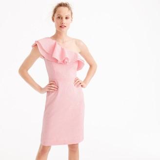 Petite one-shoulder ruffle dress in seersucker $158 thestylecure.com