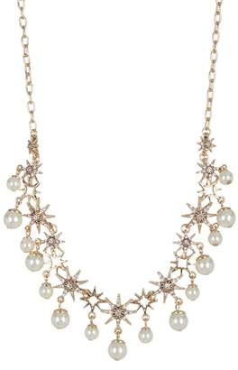 Jenny Packham Prong Set Glass Crystal & Imitation Pearl Star Collar Necklace