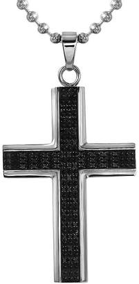 Black Diamond FINE JEWELRY Mens 1/2 CT. T.W. Color-Enhanced Stainless Steel Cross Necklace