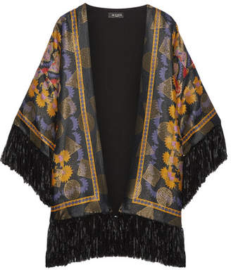 Etro - Fringed Printed Jacquard Kimono - Black $1,620 thestylecure.com