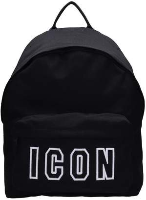 DSQUARED2 Icon Black Cotton Backpack