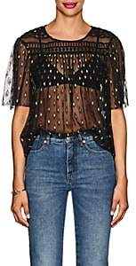 Philosophy di Lorenzo Serafini Women's Embroidered Sheer Mesh Top - Black