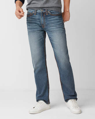 Express Loose Straight Light Wash Thick Stitch 100% Cotton Jeans