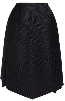 Pleats Please Issey Miyake Pleated High Rise Draped Midi Skirt - Womens - Black