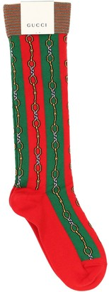 Gucci Clamsband Intarsia Cotton Socks