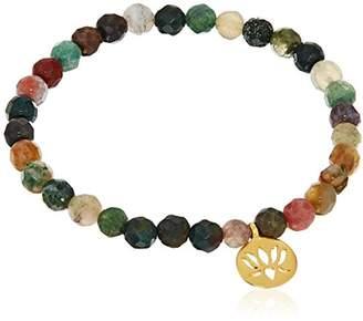 Satya Jewelry 6mm Turquoise Gold Lotus Stretch Bracelet