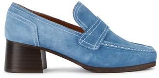 Nicole Saldana Sage Light Blue Suede Loafers