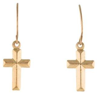 14K Cross Drop Earrings