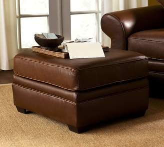 Pottery Barn Pearce Roll Arm Leather Ottoman
