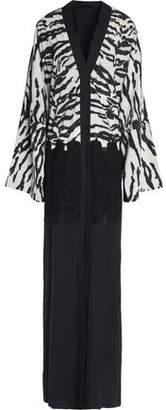 Dolce & Gabbana Macramé Lace-Paneled Zebra-Print Silk-Blend Gown