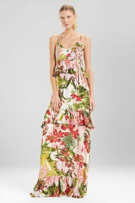 Josie Natori Paradise Floral Tiered Maxi Dress