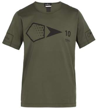 Stone Island Shadow Project - Logo Print Cotton T Shirt - Mens - Khaki