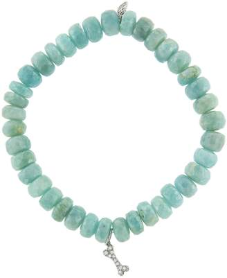Sydney Evan Diamond Dog Bone Charm On Amazonite Beaded Bracelet