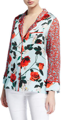 Alice + Olivia Keir Floral-Print Button-Front Long-Sleeve Pajama Top